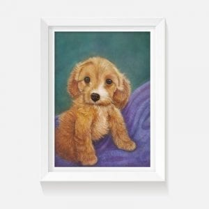 Indoor art artwork puppy