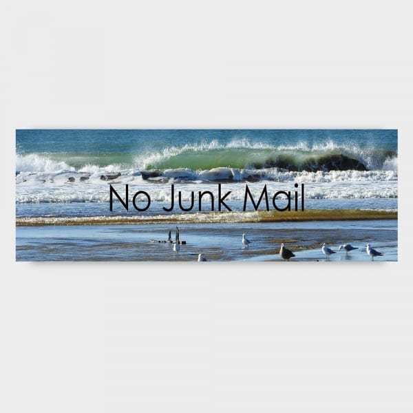 No Junk mail Sign Beach Scene