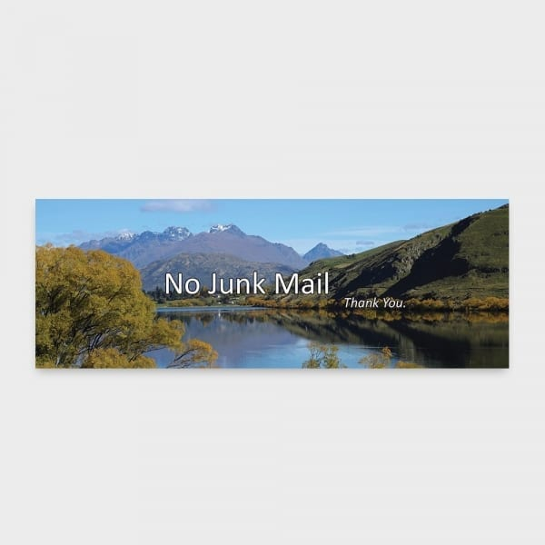 no junk mail sign for your letterbox with photo of lake hayes